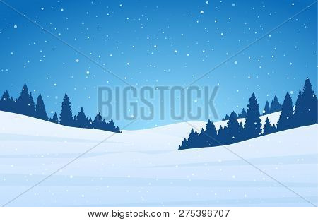 Template Of Christmas Greeting Card With Winter Night Snowy Hillside Landscape.