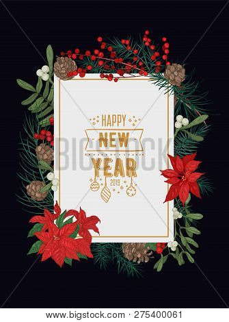 Decorative New Year Greeting Card Or Postcard Template With Conifer Branches And Cones, Mistletoe Be