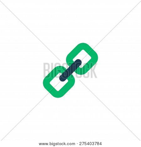 Add Link Icon Flat Element.  Illustration Of Add Link Icon Flat Isolated On Clean Background For You