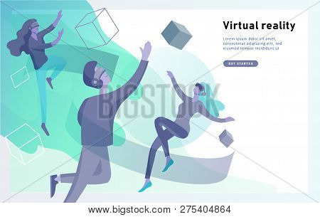 Man And Woman Wearing Virtual Reality Headset And Looking At Abstract Sphere. Colorful Vr World. Vir