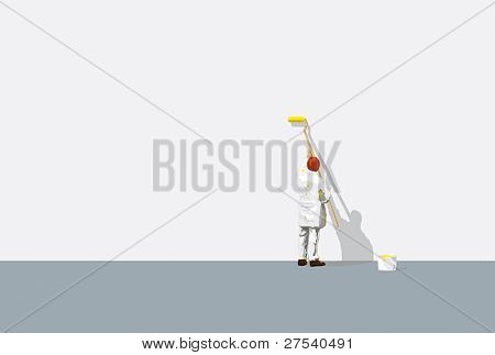painter with paint-roller in front of blank wall. Huge space for your logo, copy or headline