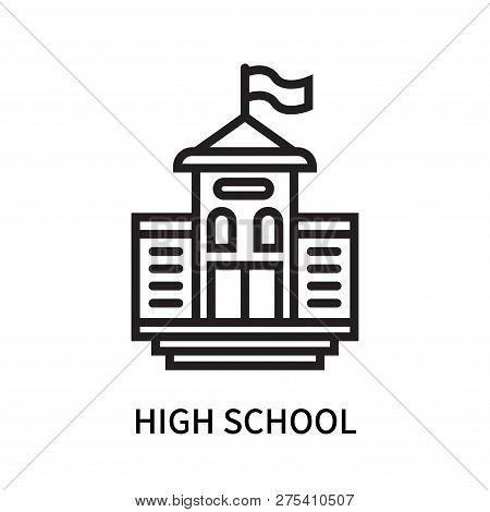 High School Icon Isolated On White Background. High School Icon Simple Sign. High School Icon Trendy