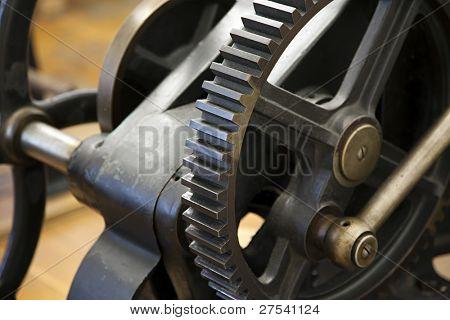gear on vintage printing press