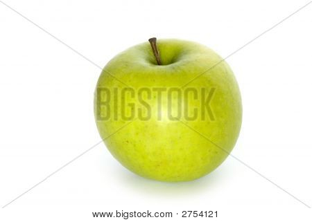 one green apple isolated on white backraund poster