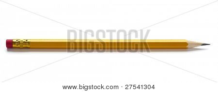 sharp yellow pencil with eraser isolated on white background