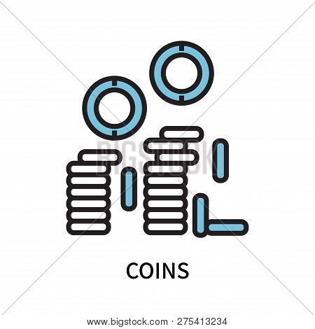 Coins Icon Isolated On White Background. Coins Icon Simple Sign. Coins Icon Trendy And Modern Symbol