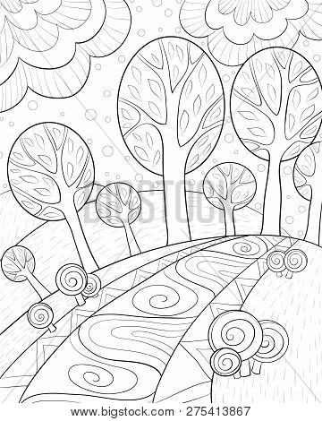 An Abstract Landscape Withtrees,bushes And Road Image For Relaxing Activity.a Coloring Book,page For