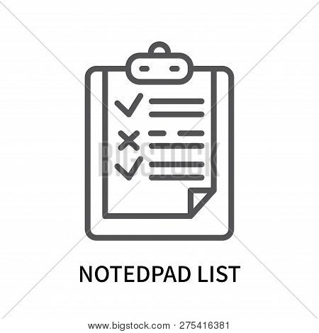 Notedpad List Icon Isolated On White Background. Notedpad List Icon Simple Sign. Notedpad List Icon