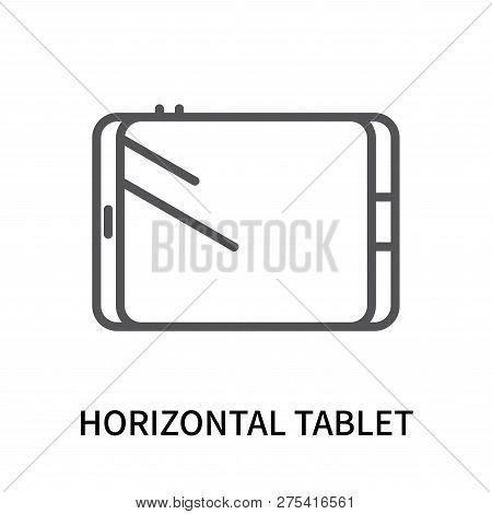 Horizontal Tablet Icon Isolated On White Background. Horizontal Tablet Icon Simple Sign. Horizontal