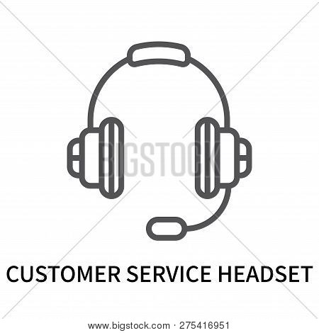 Customer Service Headset Icon Isolated On White Background. Customer Service Headset Icon Simple Sig