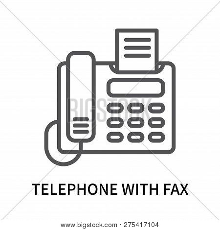 Telephone With Fax Icon Isolated On White Background. Telephone With Fax Icon Simple Sign. Telephone