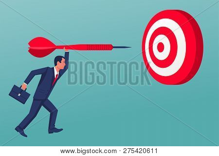 Purpose Business Concept. Businessman Throws A Spear In Target. Achievement Of Goal. Vector Illustra