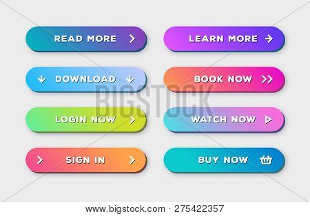 Vector Button Set 3d Bold Modern Trendy Gradient Style With Shadow Isolated On Background For Web Si