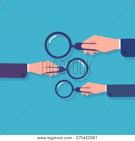 Hands Holding Magnifying Glass. Information Searching, Business Data Research And Detective. Cartoon