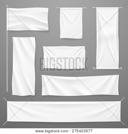 White Textile Advertising Banners. Blank Fabric Cloths Hanging On Rope. Folded Empty Cotton Stretche