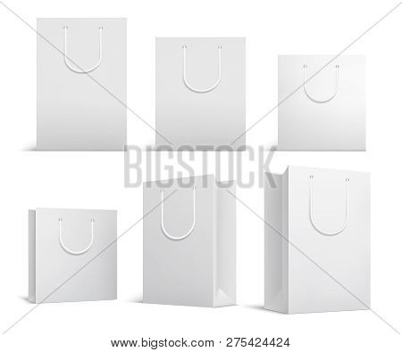 Shopping Bag Mockup. White Blank Papper Bags. Shopping Product Package For Corporate Brand Vector Te
