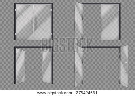 Glass Doors. Open Closed Supermarket Outside Transparent Door Isolated Vector 3d Set. Illustration O