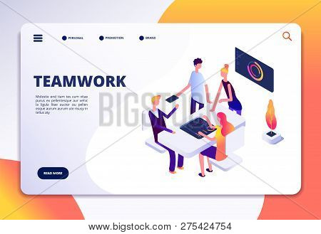 Workspace Isometric Landing Page. People Team Work In Office. Partnership, Business Process Persons