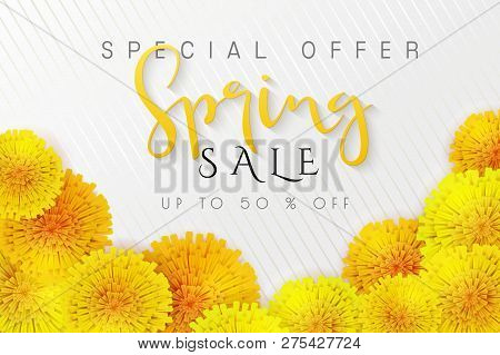 Vector Illustration Of Spring Promotion Banner Template With Hand Lettering Label - Spring - With Re