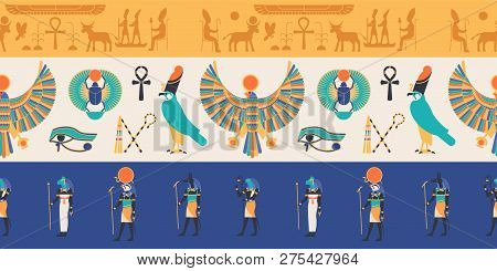 Seamless Pattern With Gods, Deities And Creatures From Ancient Egyptian Mythology And Religion, Hier
