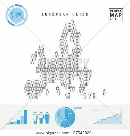 European Union People Icon Map. People Crowd In The Shape Of A Map Of European Union. Stylized Silho