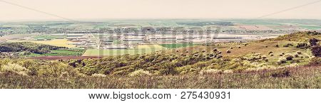 Industrial Park In Nitra, Slovak Republic. Panoramic Photo. Seasonal Natural Landscape. Red Photo Fi