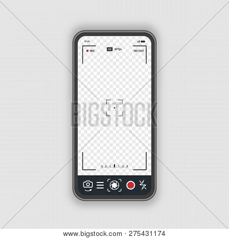 Mobile Phone With Record Frame Camera Concept. Viewfinder Template. Screen Photography Frame For Vid