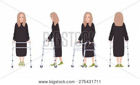 Happy Young Woman With Walking Frame Or Walker Isolated On White Background. Female Character With P