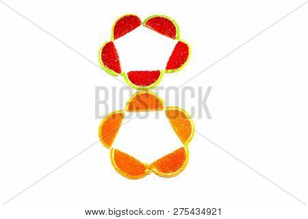 frame of fruit-sugar marmalade.fruit marmalade on white isolated background.multicolored marmalade. poster