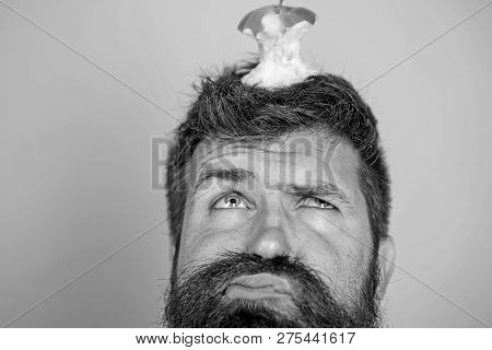 Hipster Unhappy Face With Apple Stump Target On Head Blue Background, Close Up. Man Handsome Hipster