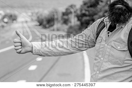 Usually use thumb up to inform drivers hitchhiking. But in some cultures gesture offensive so you risk to be killed by furious driver you just insulted. Hitchhiking culture. Thumb up gesture meaning poster