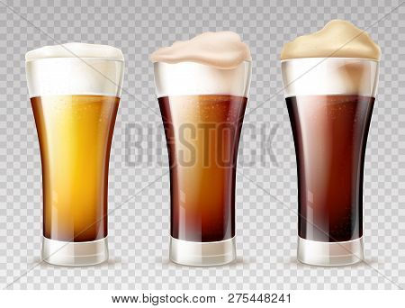 Freshly Brewed, Various Grades Of Craft Beer Poured In Glossy Weizen Glasses With Foam Pours Out On