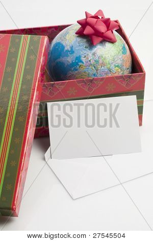 Earth as a present, greeting card for your own text poster
