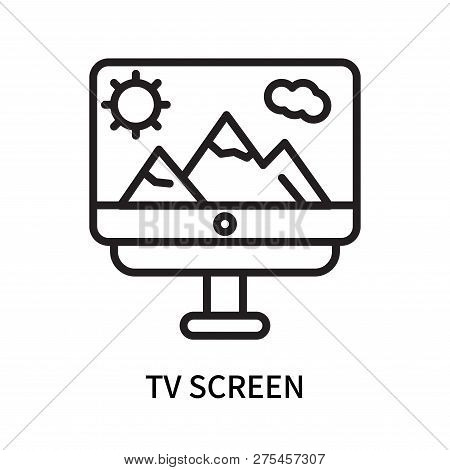 Tv Screen Icon Isolated On White Background. Tv Screen Icon Simple Sign. Tv Screen Icon Trendy And M
