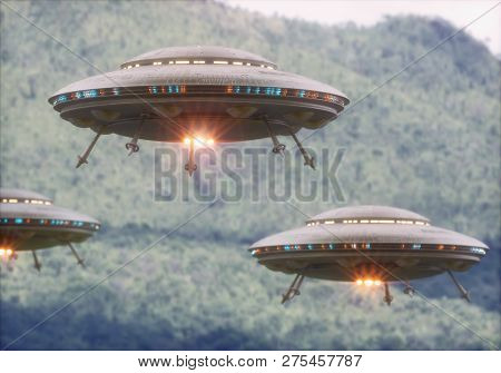Three Unidentified Flying Objects Over A Forest With Trees And Mountains Behind. 3d Illustration.