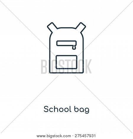 School Bag Icon In Trendy Design Style. School Bag Icon Isolated On White Background. School Bag Vec