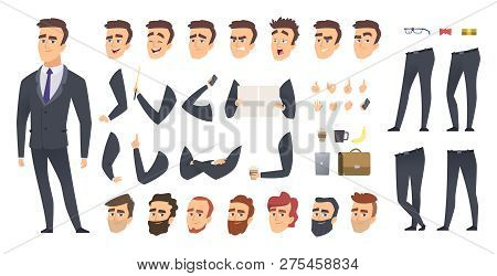 Businessman Constructor. Coworkers Manager Or Business Person People Keyframes Animation Character V
