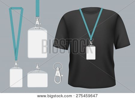 poster of Badges mockup. Presentation tag access business badges with personal name or id vector template. Pass tag badge on lanyard, identity corporate and authentication registration member illustration