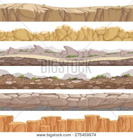 Old Rock Road Seamless. Endless Fantastic Rockie Ground Various Types Games Landscape Vector Backgro