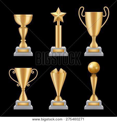 Award Trophies Realistic. Golden Cup Sport Success Star Symbols Vector 3d Illustrations Isolated. Go