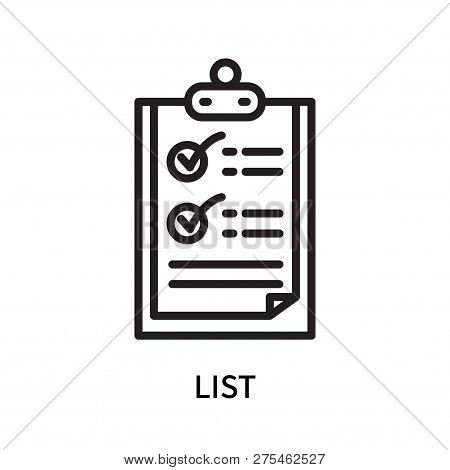 List Icon Isolated On White Background. List Icon Simple Sign. List Icon Trendy And Modern Symbol Fo