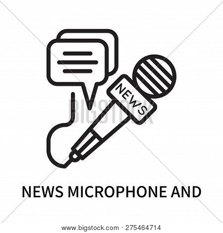 News Microphone And Speech Bubbles Icon Isolated On White Background. News Microphone And Speech Bub
