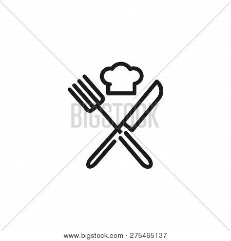 Chef Hat With Crossed Knife And Fork Line Icon. Restaurant, Cafe, Menu. Cooking Concept. Vector Illu
