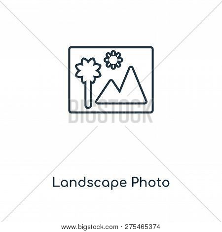Landscape Photo Icon In Trendy Design Style. Landscape Photo Icon Isolated On White Background. Land