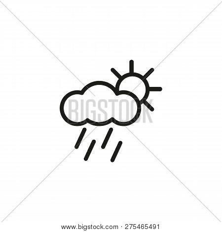 Rainy Weather Line Icon. Rainfall, Cloudscape, Precipitation. Weather Concept. Vector Illustration C