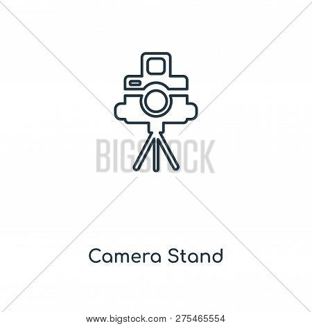 Camera Stand Icon In Trendy Design Style. Camera Stand Icon Isolated On White Background. Camera Sta
