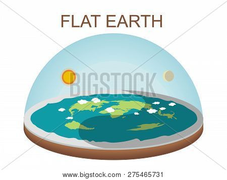 Flat Earth Concept Illustration On White Background. Isolated Vector Clip Art. Ancient Cosmology Mod
