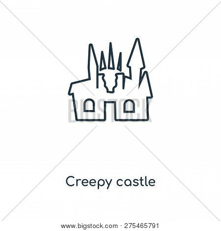 Creepy Castle Icon In Trendy Design Style. Creepy Castle Icon Isolated On White Background. Creepy C