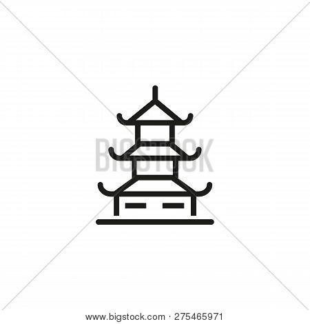 Chinese Pagoda Line Icon. Traditional Building, Temple, House. Landmarks Concept. Can Be Used For To
