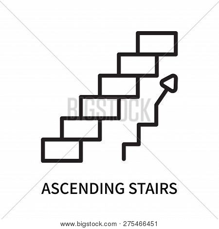 Ascending Stairs Icon Isolated On White Background. Ascending Stairs Icon Simple Sign. Ascending Sta